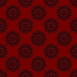 Noir Mandala Black on Red - Small