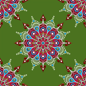Rose Mandala on Green - Medium