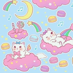 large cloud cats on blue