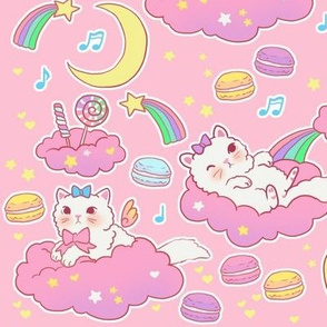large cloud cats on pink