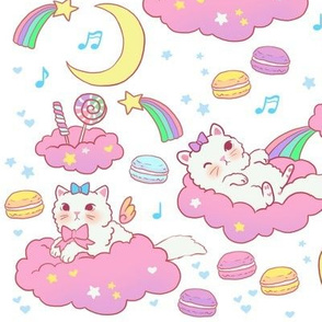 Large cloud cats on white