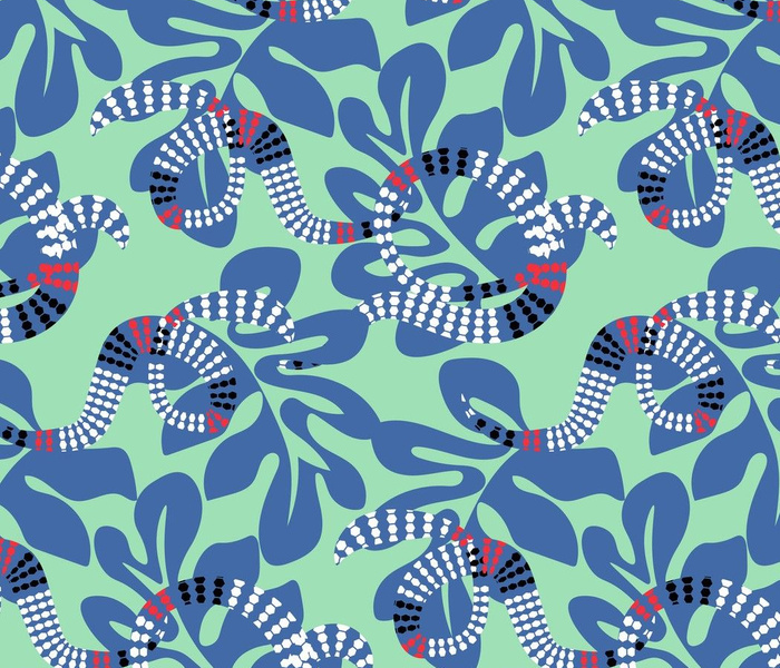 blue leafs and snakes