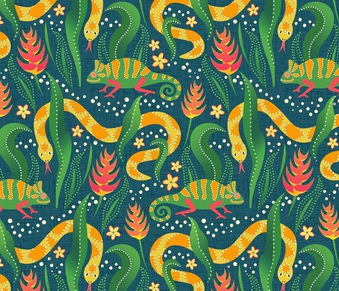 Chameleon  and snake on blue linen