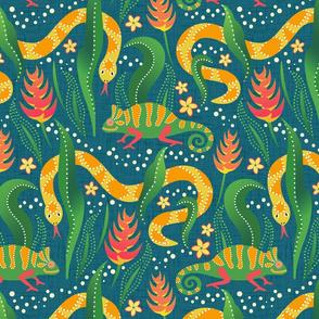 Chameleons and snakes on blue linen / lighter blue version