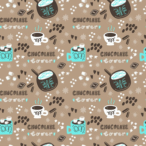 Hot Chocolate and Coffee drinks seamless pattern