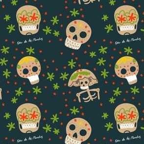 Day of Dead Mexico seamless pattern