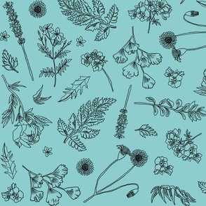 Wild Flowers  - Teal Background