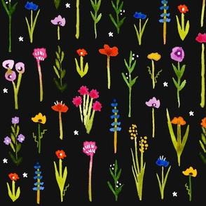 Ditsy Wild Flowers - Dark Background