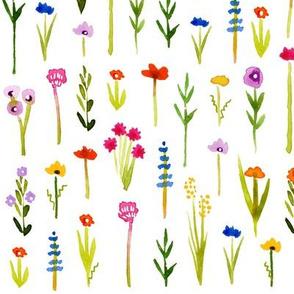 Ditsy Wild Flowers - White Background