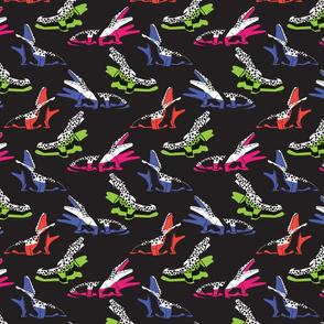Neon geo crocodiles // normal scale // black background black and white geometric animals green fuchsia pink blue and orange shadows