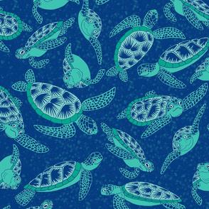 Sea Turtle Friends, Navy, XL