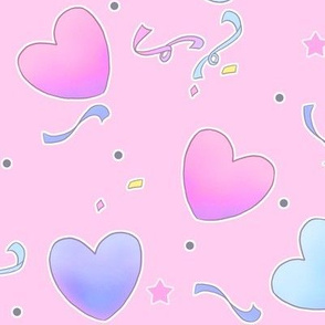 large fairy kei hearts on pink