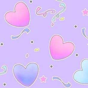 large fairy kei hearts on purple