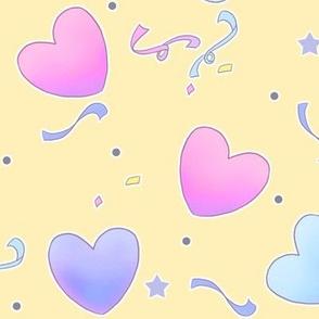 large fairy kei hearts on yellow