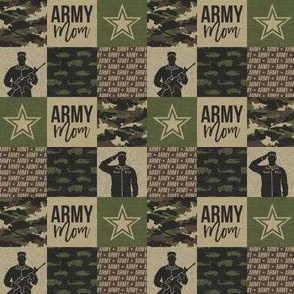 """(1"""" small scale) Army Mom - Patchwork fabric - Soldier Military - OG  - LAD19BS"""