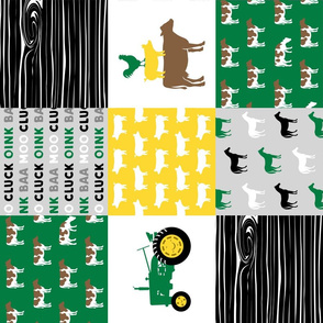 farm life - wholecloth green, custom yellow, and black - woodgrain custom cows (90) C20BS