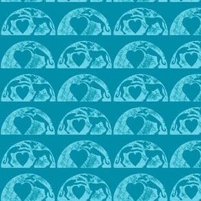 Hounds over Hearts Blockprint-blue on green-ed