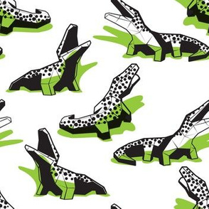Small scale // Neon geo crocodiles // white background black and white geometric animals green shadows