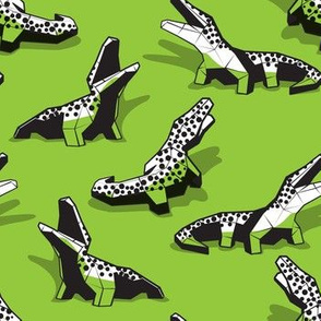 Small scale // Neon geo crocodiles // green background black and white geometric animals