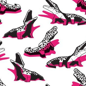 Small scale // Neon geo crocodiles // white background black and white geometric animals fuchsia pink shadows