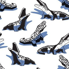 Small scale // Geometric crocodiles // white background black and white geo animals blue shadows