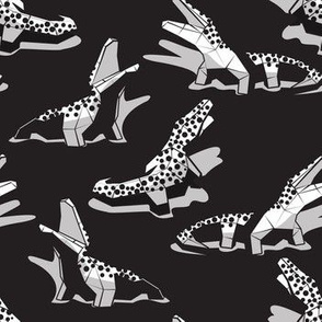 Small scale // Geometric crocodiles // black background black and white geo animals grey shadows