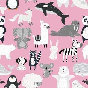 black white animals monochrome pink