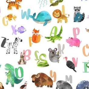 watercolor animal alphabet abc