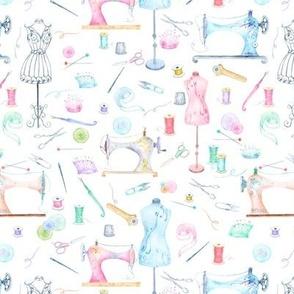 watercolor seamstress sewing
