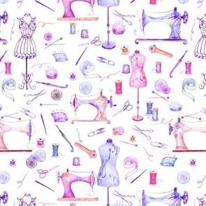 watercolor seamstress sewing purple