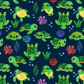 Sea Turtles Watercolor Blue
