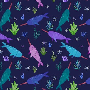 Purple Blue Narwhals Watercolor