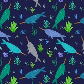 Green Blue Narwhals Watercolor