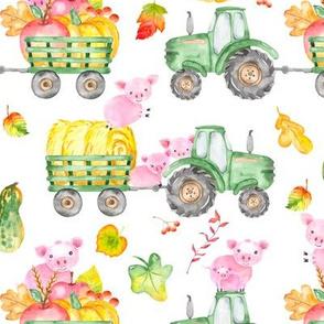 Hog Wild Pigs On Tractors Watercolor