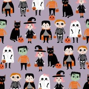 trick or treat - cute halloween kids in costumes fabric - light purple