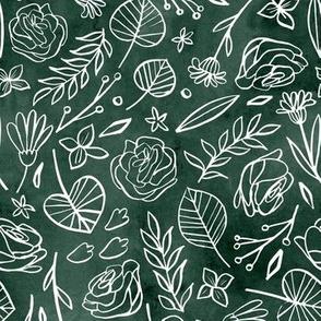 Watercolor Line Art Floral - Green