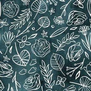 Watercolor Line Art Floral - Blue