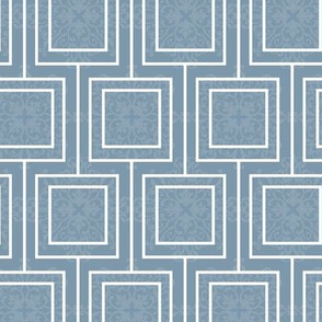 20-6ab French Floral Leaves Geometric Squares French Blue