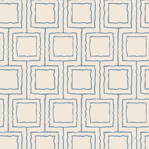 20-6x Abstract Geometric Squares White Slate Dusty Blue
