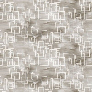 20-6w Flax Gray Neutral Waves Geometric Abstract Squares