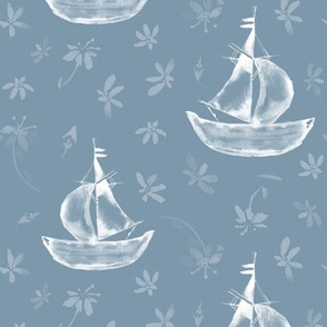 20-6t Watercolor French Nautical Blue Boat Floral