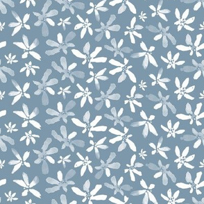 20-6s Watercolor French Blue Floral Ditsy Small scale
