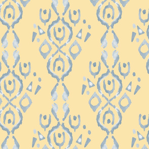 20-6q Watercolor Ikat Butter Yellow Blue Dusty Blue yellow