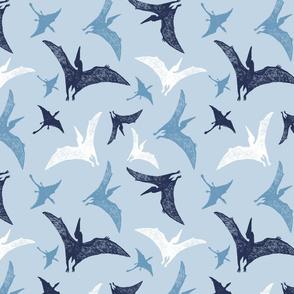 Dinosaur pen sketch blue pterosaur pattern