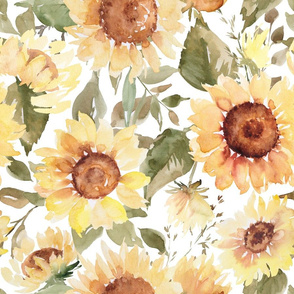 Watercolor sunflowers on white - extra large scale