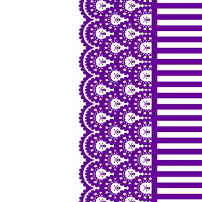 Purple Skull and Crossbones Lace Border with Purple and White 1/2 inch stripe