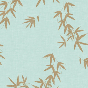 Mint Gold Bamboo Leaves