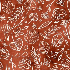 Watercolor Line Art Floral - Cinnamon