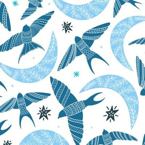 Flying birds in the sky, stars and moon with folk art florals, hues of blue