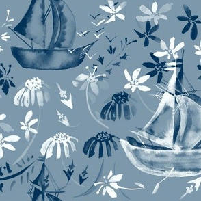 20-6l Nautical Beach Boat French Blue White Floral